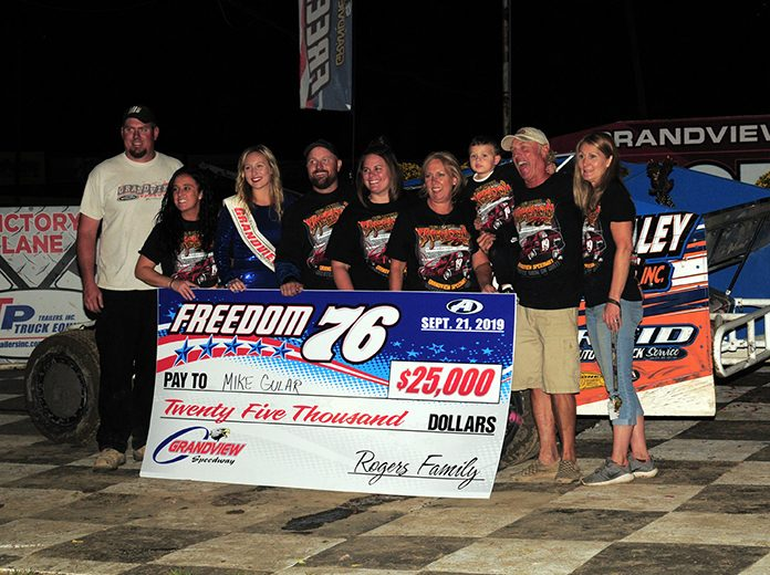 Mike Gular banked $25,000 after winning Saturday's Freedom 76 at Grandview Speedway. (Rich Kepner Photo)