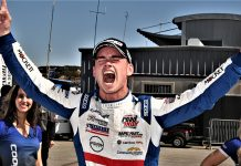 Braden Eves celebrates after winning the USF2000 championship and the season finale. (Al Steinberg Photo)