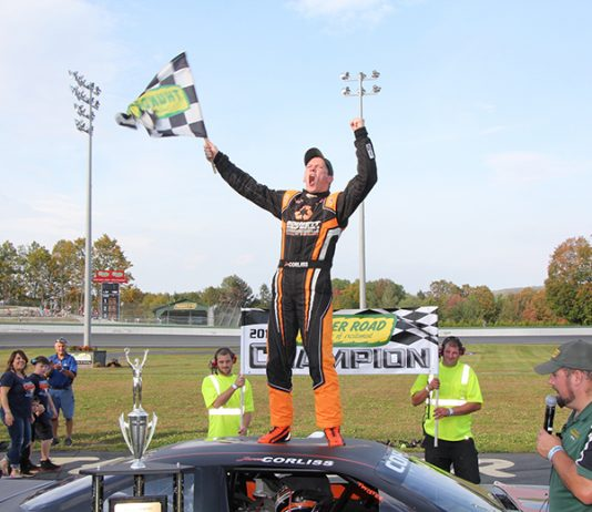 Jason Corliss celebrates after winning the King of the Road championship at Thunder Road Int'l Speedbowl on Sunday night. (Alan Ward Photo)
