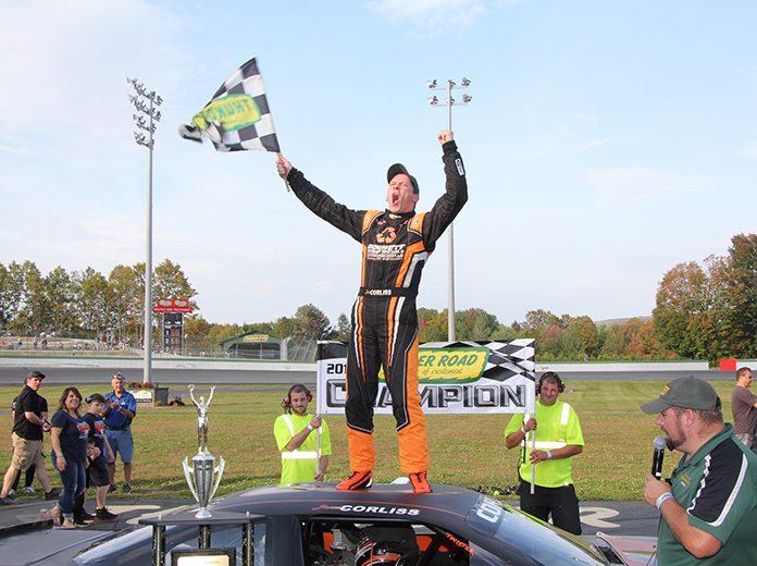 Jason Corliss celebrates after winning the King of the Road championship at Thunder Road Int'l Speedbowl on Sunday night. (Alan Ward Photo)