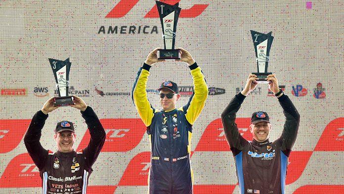 Johan Schwartz (center) won Sunday's TC America feature at Road America.