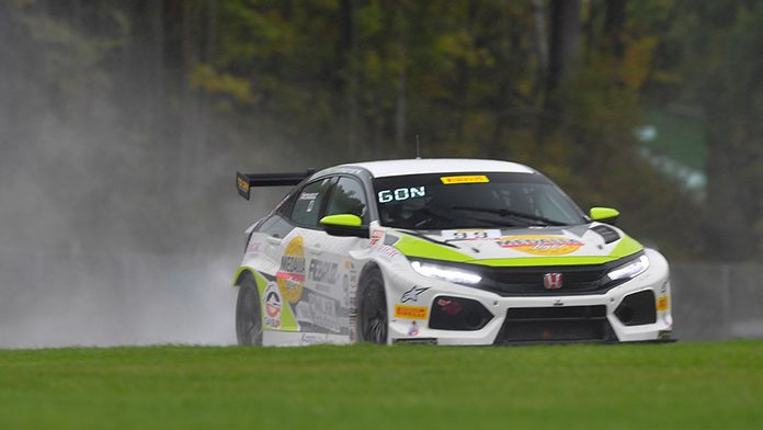 Victor Gonzalez on his way to victory in TCR competition Sunday at Road America.