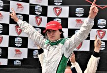 Colton Herta celebrates after winning Sunday's Firestone Grand Prix of Monterey. (Al Steinberg Photo)