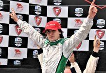 Colton Herta celebrates after winning Sunday's Firestone Grand Prix of Monterey. (Al Steinberg Photo)