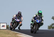 Cameron Beaubier (1) leads teammate Garrett Gerloff Sunday at Barber Motorsports Park. (Brian J. Nelson Photo)