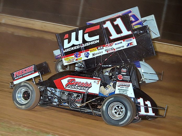 Carl Bowser (11) in action this year at Sharon Speedway. (Jim Balentine Photo)