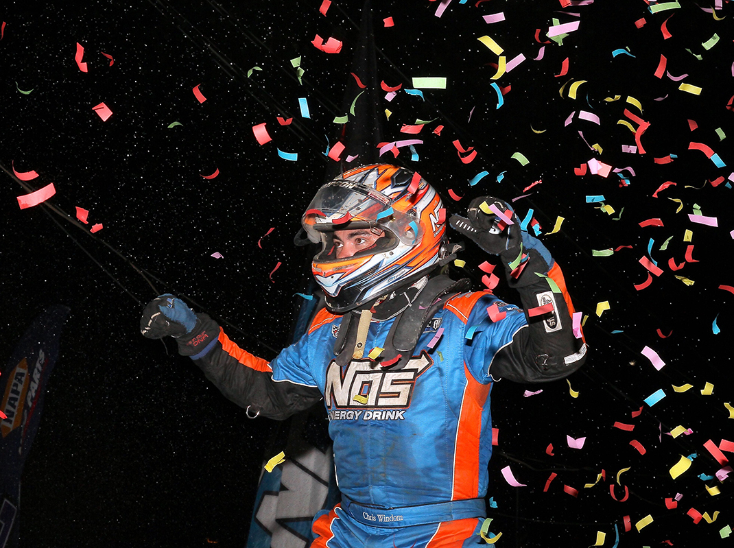 Chris Windom celebrates a victory in 2019. (Dan Demarco Photo)