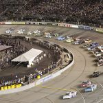 Drivers battle for position early in Saturday's Federated Auto Parts 400 at Richmond Raceway. (HHP/Harold Hinson Photo)
