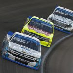 Ross Chastain (45) leads Matt Crafton (88) earlier this month at Las Vegas Motor Speedway. (NASCAR Photo)