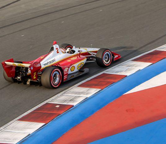 Josef Newgarden navigates the infield portion of Charlotte Motor Speedway's ROVAL Friday afternoon. (Adam Fenwick Photo)