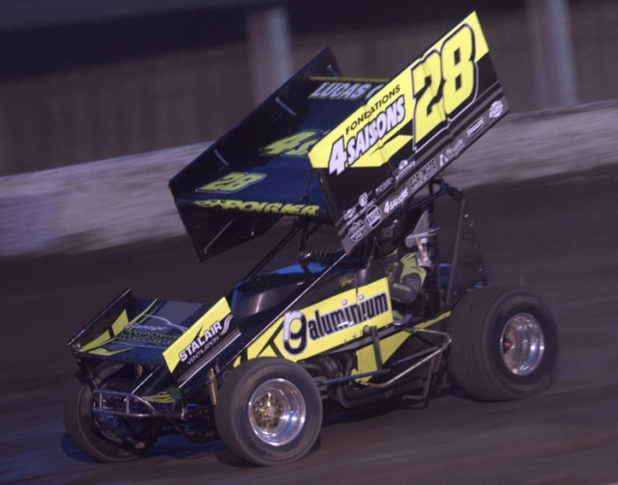 Steve Poirier at Fonda Speedway. (Dave Dalesandro photo)