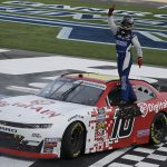 A.J. Allmendinger won Saturday's Drive for the Cure 250 on Charlotte Motor Speedway's ROVAL. (HHP/Andrew Coppley Photo)