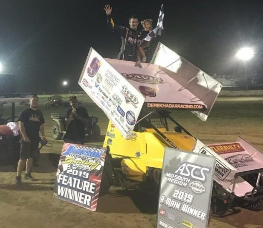 Derek Hagar in victory lane. (ASCS photo)