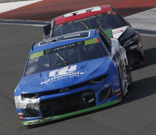 Alex Bowman (88) managed to survive Sunday's Bank of America ROVAL 400 to advance in the Monster Energy NASCAR Cup Series playoffs. (HHP/Ashley Dickerson Photo)