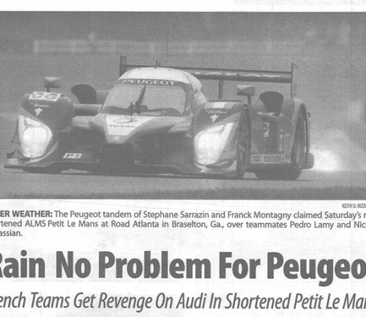 Rain helped the Peugeot team win the 2009 Petit Le Mans.
