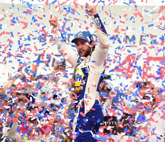 Chase Elliott celebrates his way Sunday at Charlotte Motor Speedway on the ROVAL course. (NASCAR Photo)