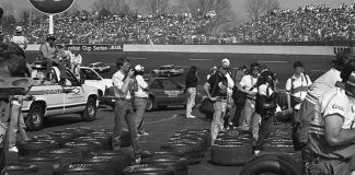 Goodyear and Hoosier Tires sit on the ground awaiting NASCAR teams in the 1980s. (NSSN Archives Photo)