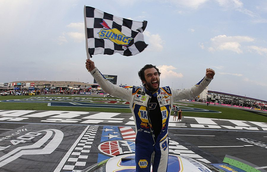 Chase Elliott celebrates after winning Sunday's Bank of America ROVAL 400 at Charlotte Motor Speedway. (HHP/Andrew Coppley Photo)