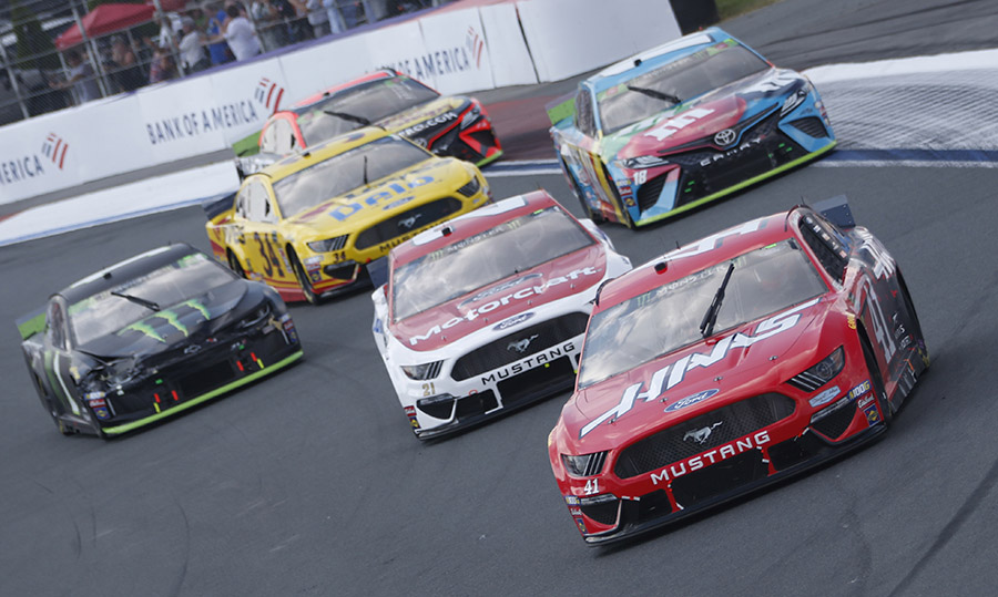 Daniel Suarez (41) leads a gaggle of cars through the infield portion of the Charlotte Motor Speedway ROVAL Sunday during the Bank of America ROVAL 400. (HHP/Ashley Dickerson Photo)