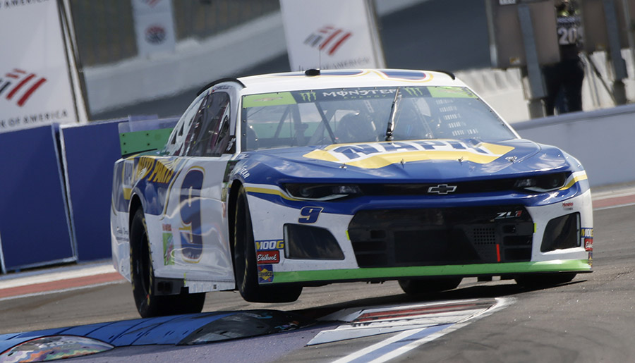 Chase Elliott hops a curb during Sunday's Bank of America ROVAL 400 at Charlotte Motor Speedway. (HHP/Ashley Dickerson Photo)