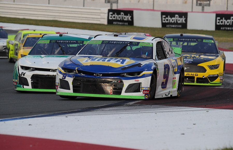 Chase Elliott (9) leads teammate William Byron (24) and others during Sunday's Bank of America ROVAL 400 at Charlotte Motor Speedway. (HHP/Brian Cleary Photo)
