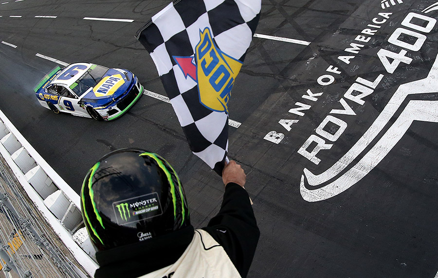 Chase Elliott roars towards the checkered flag to win Sunday's Bank of America ROVAL 400 at Charlotte Motor Speedway. (NASCAR Photo)