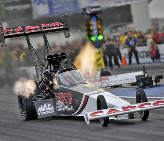 Billy Torrence claimed the Top Fuel triumph during the AAA Insurance NHRA Midwest Nationals at World Wide Technology Raceway on Sunday. (Shawn Crose Photo)