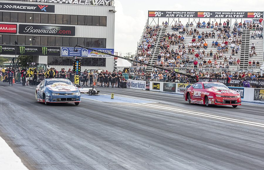 Erica Enders (right) outran Matt Hartford (left) to win the Pro Stock portion of the AAA Insurance NHRA Midwest Nationals at World Wide Technology Raceway on Sunday. (Brad Plant Photo)
