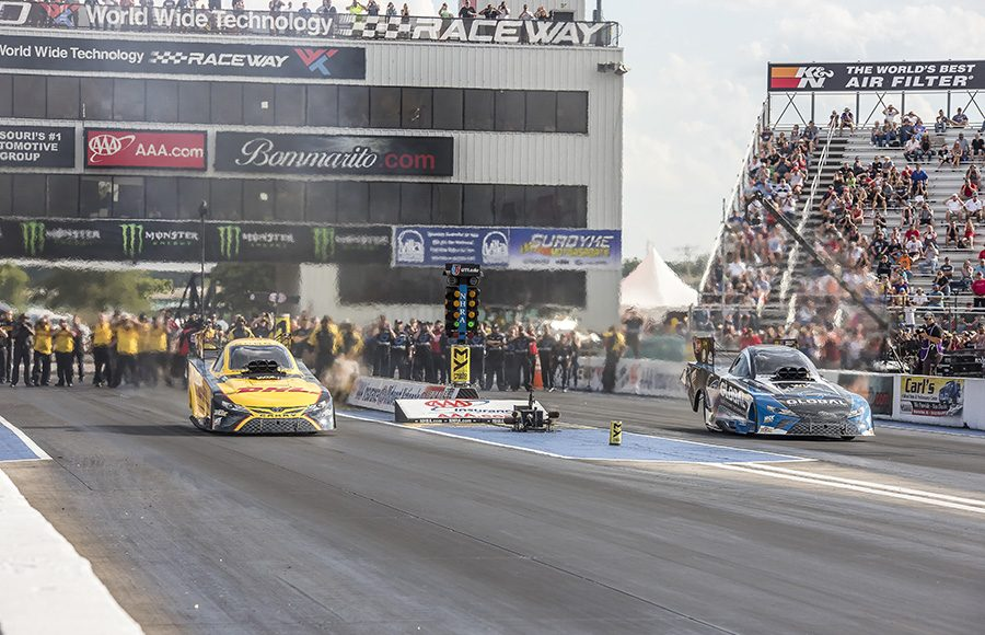 Shawn Langdon (right lane) bested J.R. Todd en route to the Funny Car triumph during the AAA Insurance NHRA Midwest Nationals at World Wide Technology Raceway on Sunday. (Brad Plant Photo)