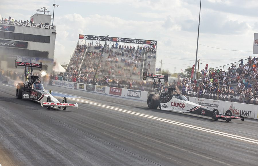 Billy and Steve Torrence battled for the victory in the Top Fuel finals during the AAA Insurance NHRA Midwest Nationals at World Wide Technology Raceway on Sunday. (Brad Plant Photo)