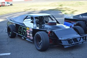 Derrick Doering regularly competes in the No. 46 NASCAR Modified at All American Speedway (Don Thompson photo)