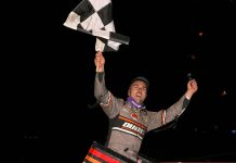 David Gravel celebrates victory at Williams Grove Speedway. (Dan Demarco photo)
