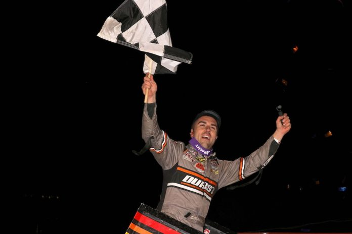 David Gravel celebrates victory at Williams Grove Speedway. (Dan Demarco photo)