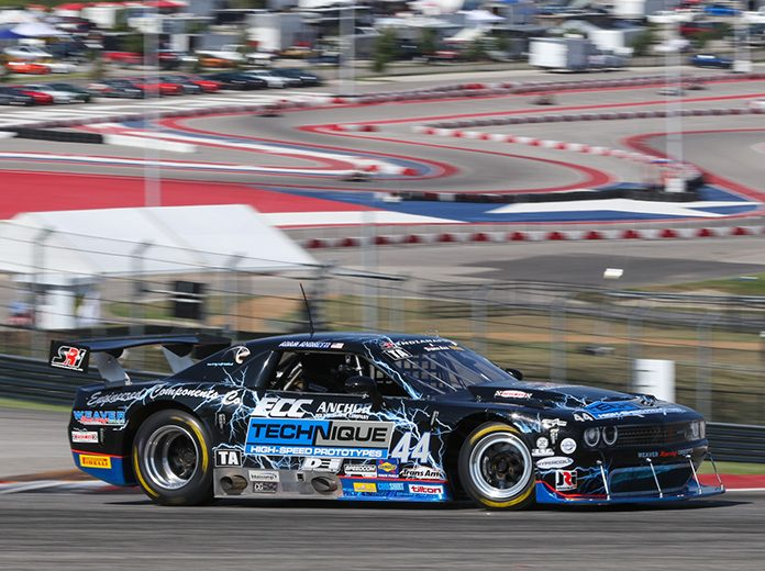 Adam Andretti on his way to victory Saturday at Circuit of the Americas in Trans-Am Series competition.