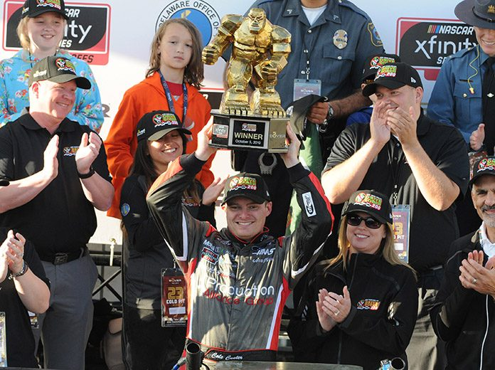Cole Custer celebrates in victory lane Saturday at Dover Int'l Speedway. (Dave Moulthrop Photo)