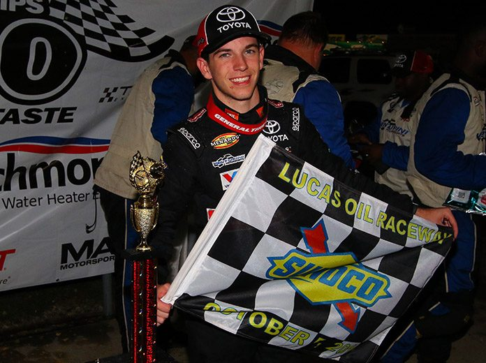 Chandler Smith won Saturday's rain-shortened Herr's Potato Chips 200 at Lucas Oil Raceway. (ARCA Photo)