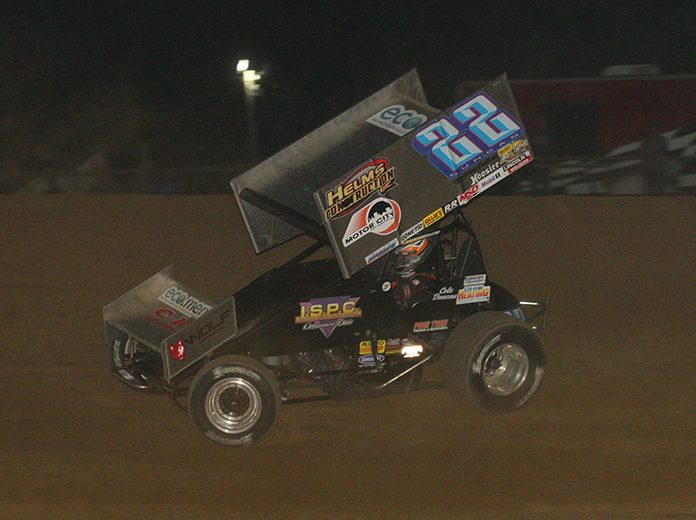 Cole Duncan on his way to victory Saturday night at Atomic Speedway. (Todd Ridgeway Photo)