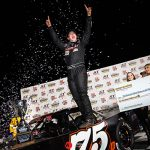 Jeremy Doss celebrates his win in Saturday's Nut Up Short Track Shootout at Madera Speedway. (Jason Wedehase Photo)