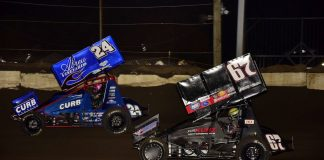 Rico Abreu (24) battles Michael Kofoid at Jacksonville Speedway. (Mark Funderburk photo)