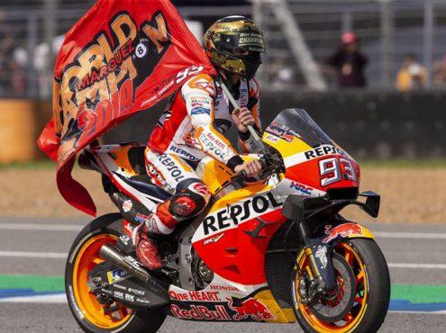 Marc Marquez captured his sixth MotoGP title Sunday in Thailand. (Honda Photo)