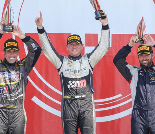 Marc Miller (center) outran Scott Lagasse Jr. (left) and Edward Sevadjian to win Sunday's Trans-Am Series TA2 event at Circuit of the Americas.