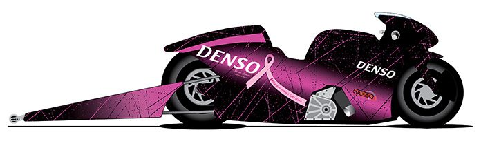Matt Smith's NHRA Pro Stock Motorcycle entry will go pink in October to support Breast Cancer Awareness.
