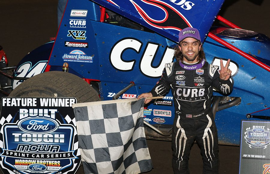 Rico Abreu poses in victory lane after winning Saturday's Built Ford Tough MOWA Sprint Car Series feature at Jacksonville Speedway. (Brendon Bauman Photo)