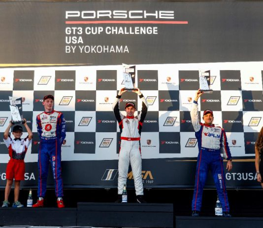 Seventeen-year-old Riley Dickinson earned his first Porsche GT3 Cup Challenge USA by Yokohama victory on Thursday.