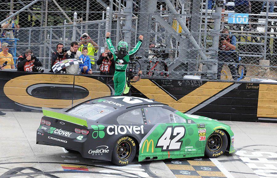 Kyle Larson celebrates after winning Sunday's Drydene 400 at Dover Int'l Speedway. (Dave Moulthrop Photo)