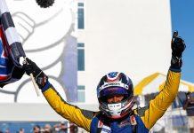 Mike Skeen celebrates after winning Friday's IMSA Prototype Challenge finale at Michelin Raceway Road Atlanta. (IMSA Photo)