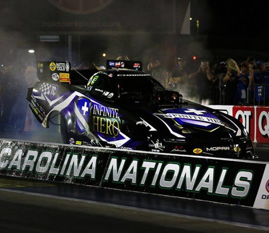 Jack Beckman raced to the top of the Funny Car class in qualifying Friday at zMAX Dragway. (HHP/Jim Fluharty Photo)