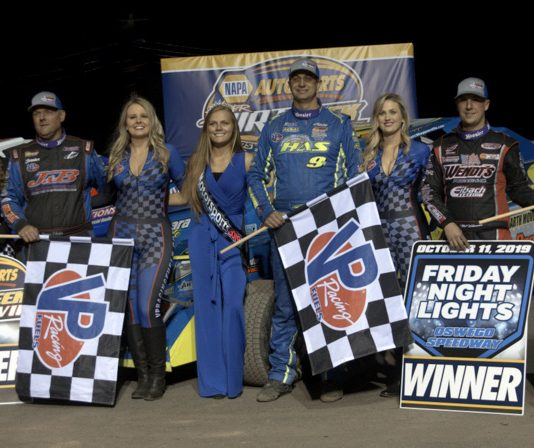 Jimmy Phelps, Matt Sheppard and Mat Williamson won Triple 30s Friday at Oswego Speedway. (Dave Dalesandro photo)