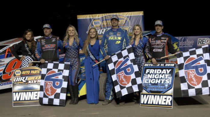 Jimmy Phelps, Matt Sheppard and Mat Williamson won Triple 30s Friday at Oswego Speedway. (Dave Dalesandro photo)