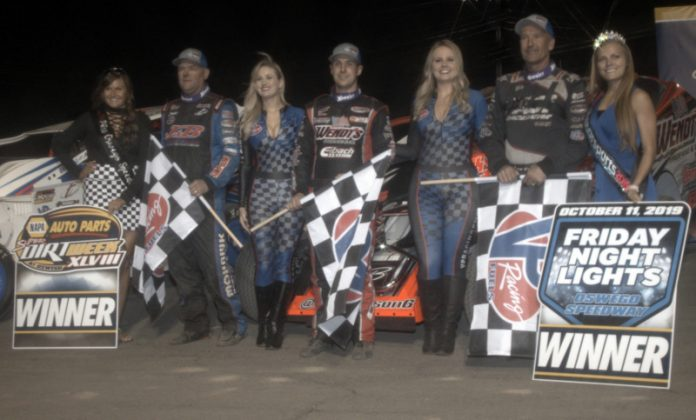 358 modified winners Jimmy Phelps, Mat Williamson and Tim Fuller. (Dave Dalesandro photo)